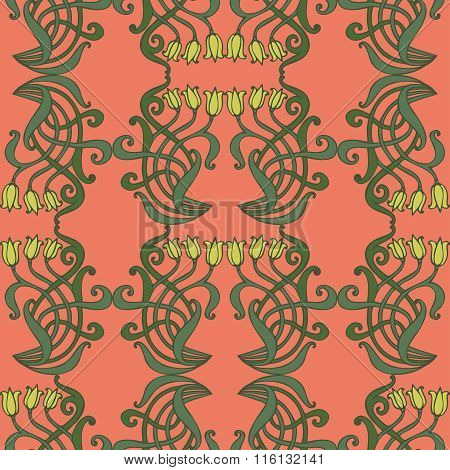 Art Nouveau, Art Deco, Modern, Vintage Elements Seamless Pattern