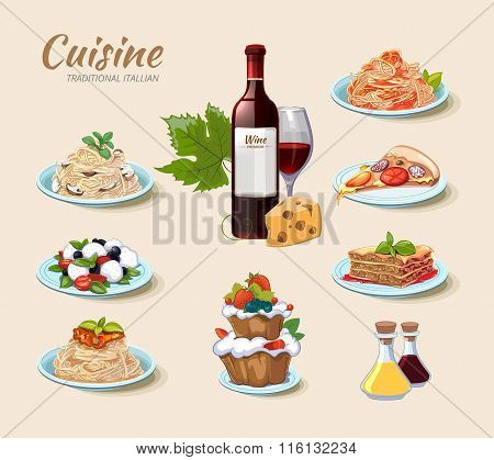 Italian cuisine vector icons set in cartoon style