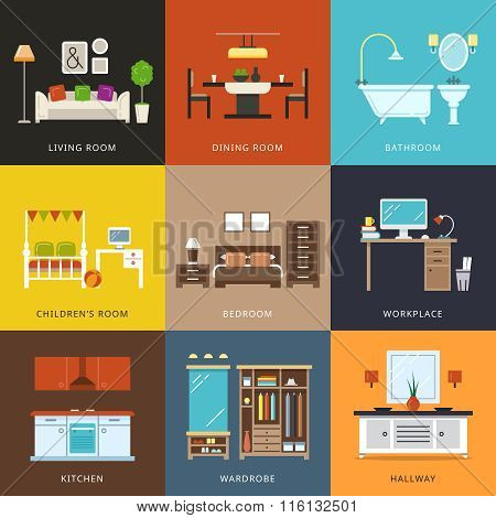 Interior of different rooms types. Vector illustration in flat style