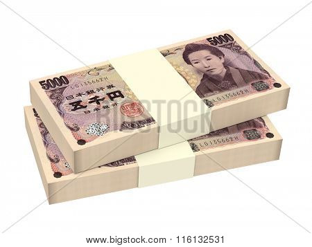 Japanese yen money isolated on white background. Computer generated 3D photo rendering.