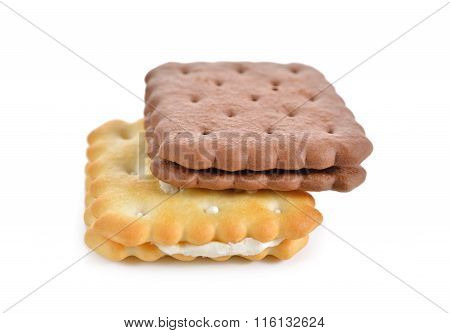 Puff Sandwich Lemon Flavored Cream  And Chocolate Flavored On White Background