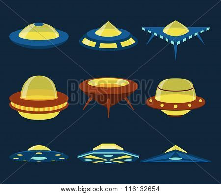 UFO spaceships vector flat icons set
