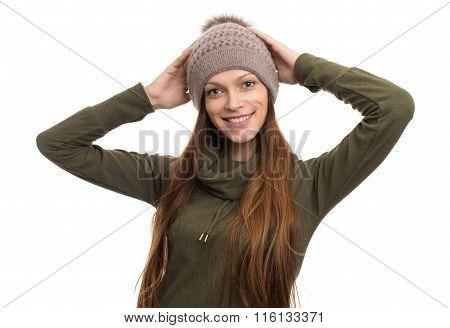 Woman Wearing Fleece Coat And Hat