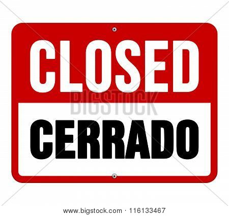 Closed Cerrado Sign In White And Red
