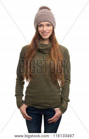 Woman Wearing Fleece Coat And Knit Hat