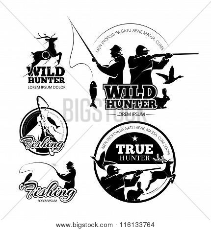 Vintage hunting and fishing vector labels, logos emblems set