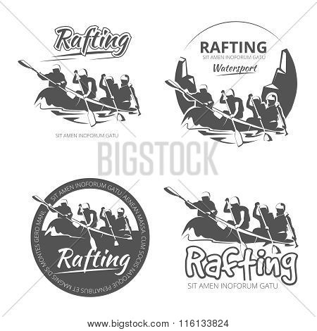 Vintage rafting, canoe and kayak vector labels, emblems badges set