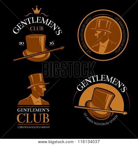 Elite mens club vintage vector labels
