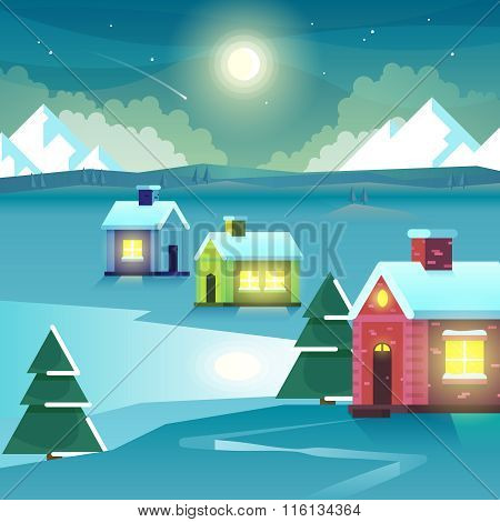 Winter night mountains and houses. Vector Illustration