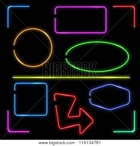 Vector neon banners set
