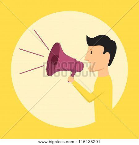 Man speaking through megaphone. Vector illustration