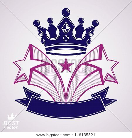 Imperial Stylized Vector Symbol, 3D Crown With Flying Stars And Curvy Ribbon. Royal Luxury Classic G