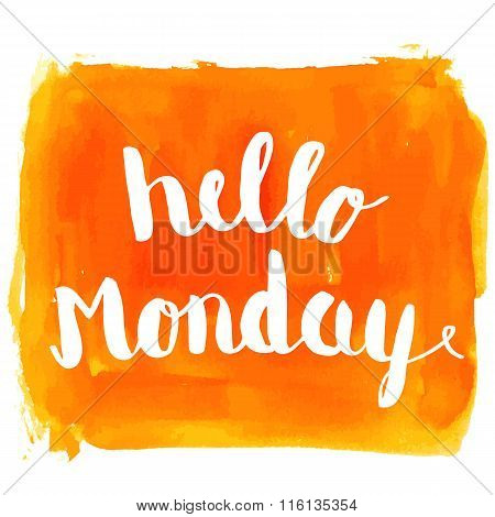 Hello Monday Watercolor Hand Paint Greeting Card