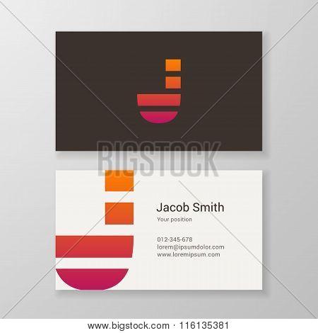 Letter J Stripes Business Card Template