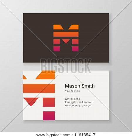 Letter M Stripes Business Card Template