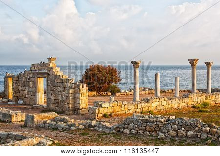 Ruins Of Ancient Greek Town Chersonese In Crimea On Black Sea.