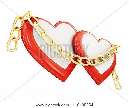 Two hearts and chain isolated on white background. 3d rendering