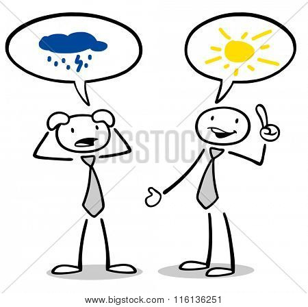 Cartoon optimist and pressimist talking to each other with speech bubbles