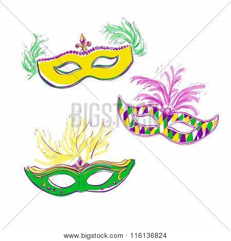 Vector Colorful Doodle Masks
