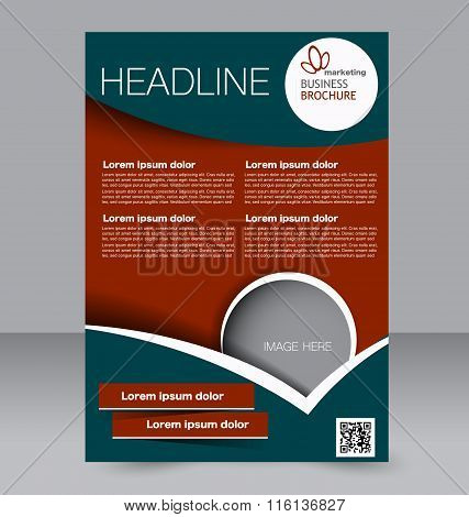 Flyer template. Brochure design. Editable A4 poster for business, education, presentation, website,