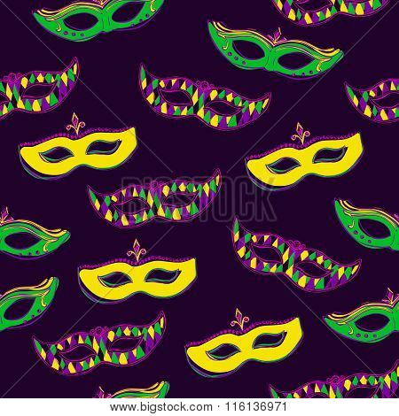 Vector Seamless Pattern With Masks On Dark Violet Background
