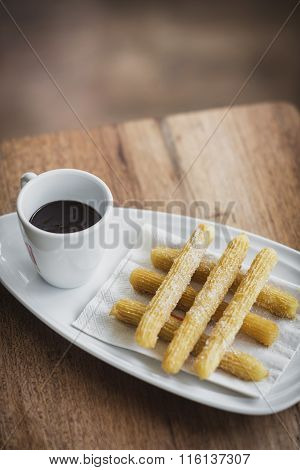 Chocolate And Churros Traditional Spanish Snack Food