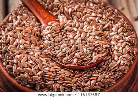 Flax seeds In Bowl Closeup