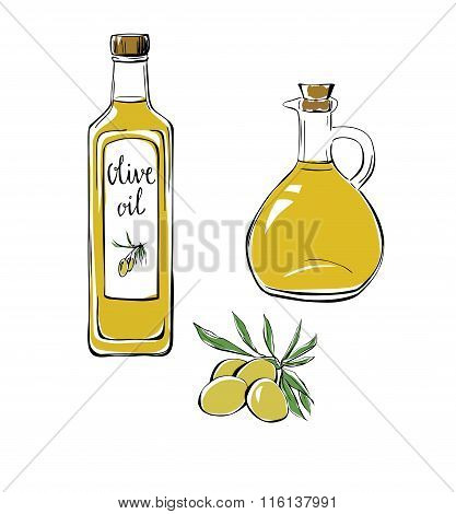 Set Of Doodle Objects Olive Oil