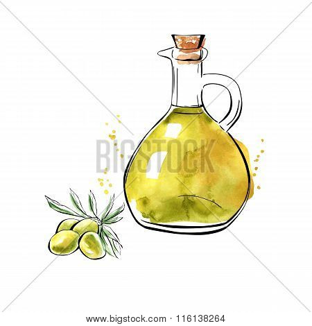 Vector Watercolor Olive Oil Pitcher