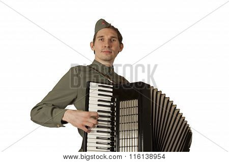 Soviet Soldier Playing The Accordion Over White Background