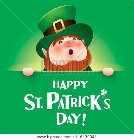 Happy Saint Patrick Day! Leprechaun with big sign.