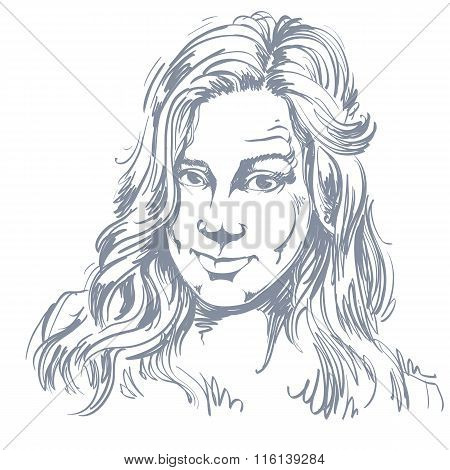 Hand-drawn Portrait Of White-skin Skeptic Woman, Face Emotions Theme Illustration. Beautiful Distrus