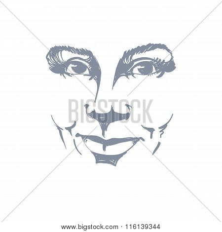 Facial Expression, Hand-drawn Illustration Of Face Of A Smiling Girl With Positive Emotional Express