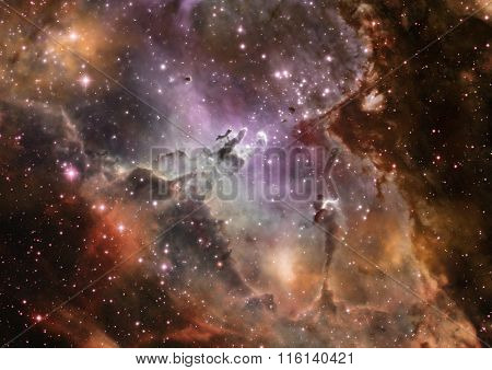 Star Field In Space And A Nebulae