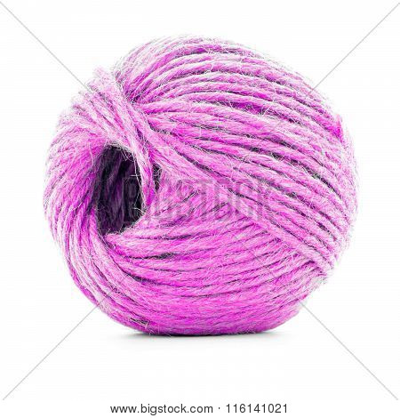 Pink Braided Clew, Crochet Yarn Ball Isolated On White Background