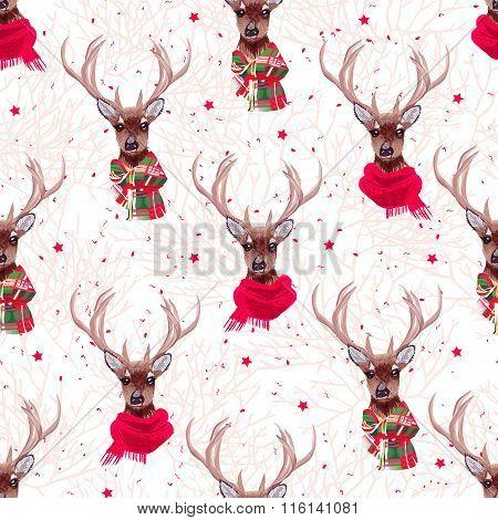 Cute Deer Wearing Stylish Winter Scarves Seamless Vector Print