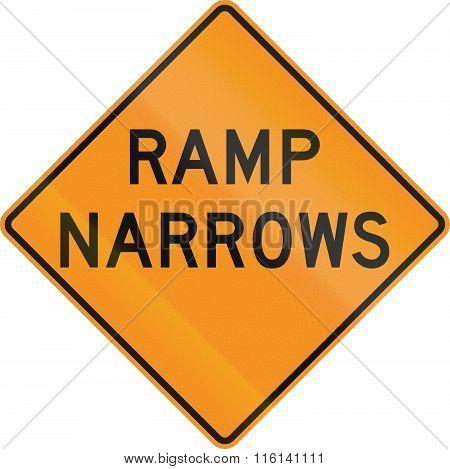 United States Mutcd Road Sign - Ramp Narrows