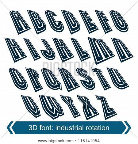 Dimensional Shift Letters With Rotation Effect, Creative Geometric Draft Characters.
