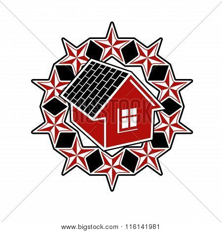 Solidarity Idea Vector Icon, Simple House Surrounded With Festive Stars. Stylized Design Element