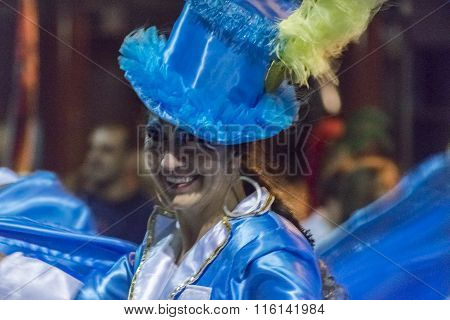 Costumed Attractive Dancer Woman At Carnival Parade Of Uruguay