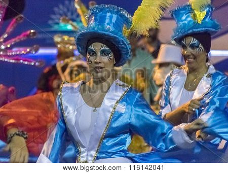 Costumed Attractive Dancer Women At Carnival Parade Of Uruguay