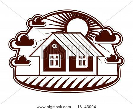 House Vector Detailed Illustration, Village Idea. Graphic Country House Image, Simple Countryside Bu