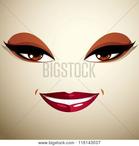 Coquette Glad Smiling Woman Eyes And Lips, Stylish Makeup. People Positive Facial Emotions, Happines