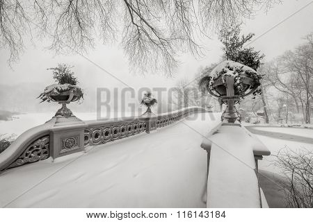 Blizzard In Central Park. Bow Bridge Covered In Snow, NYC