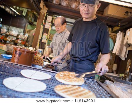 Grilling Senbei Rice Crackers