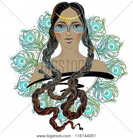 Boho Style Fashion Girl. Indian Beauty Woman. Vector Illustration