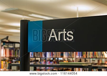 LIVERPOOL UK 16TH JAN 2016. Art Section Sign Inside A Modern Public Library