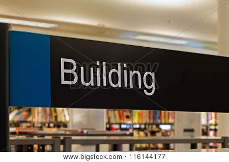 LIVERPOOL UK 16TH JAN 2016. Building Section Sign Inside A Modern Public Library