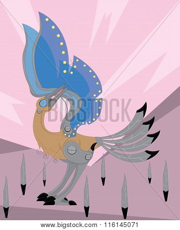 The mechanical bird cleans a beak wings