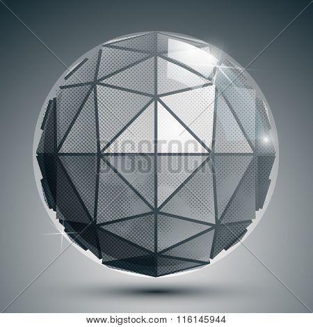 Textured Plastic Spherical Object With Flashes, Pixilated Globe Created From Triangles.